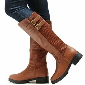 Shoes - New Tan Stretch Western Knee High Riding Boots